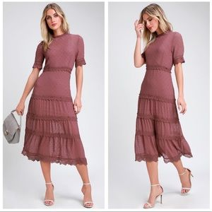 Lulus Dreaming of You Mauve Purple Swiss Dot Dress